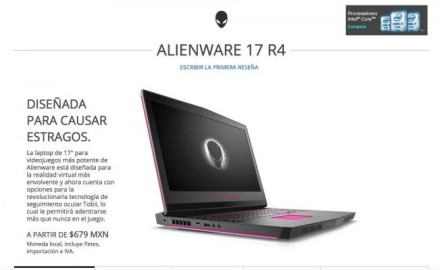 Dell ofreció laptops Alienware a $679 pesos por error